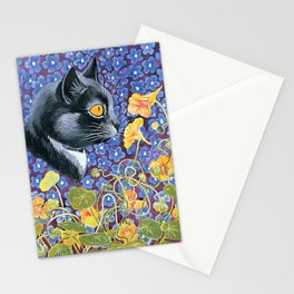 """Cat and Nasturtiums"" by Louis Wain Stationery Cards"