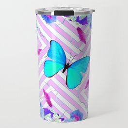 Turquoise Blue Butterflies Morning Glories Abstract Pattern Travel Mug