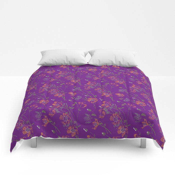 Poppy Floral - Purple Comforters