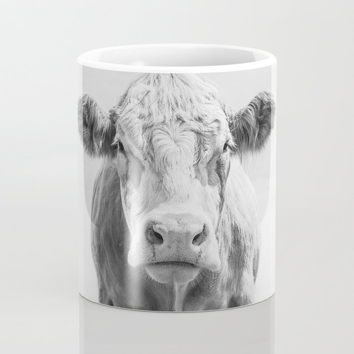 Animal Photography   Cow Portrait Minimalism   Farm animals   black and white Coffee Mug