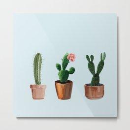 Three Cacti On Light Blue Background Metal Print