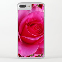 LARGE FUCHSIA PINK ROSE PATTERN ART Clear iPhone Case