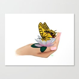 Butterfly on water lily Canvas Print