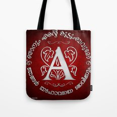 Joshua 24:15 - (Silver on Red) Monogram A Tote Bag