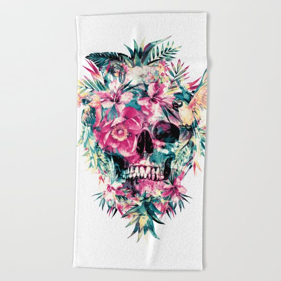 Tropical Skull Beach Towel