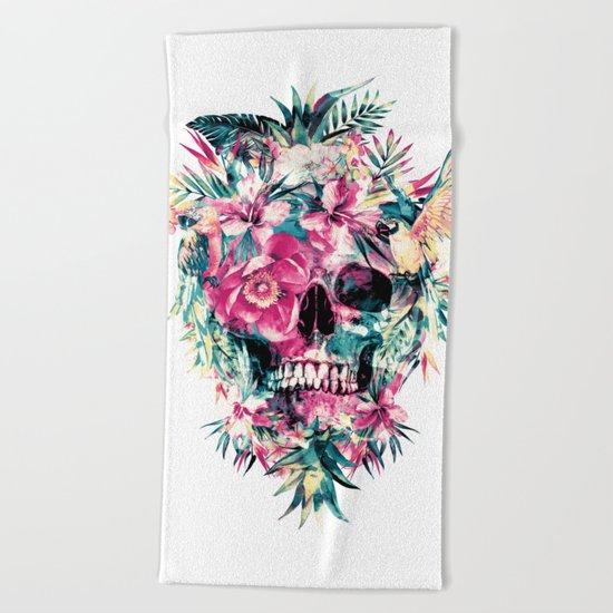 Tropical Skull Beach Towel