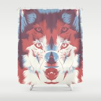 3d Shower Curtains featuring WOLF 3D by CranioDsgn