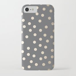 Simply Dots White Gold Sands on Storm Gray iPhone Case