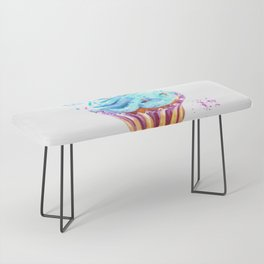 Cupcake watercolor illustration Bench