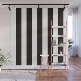 Licorice black - solid color - white vertical lines pattern Wall Mural