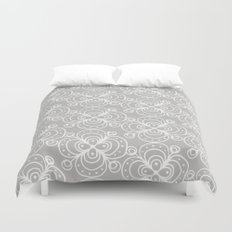 Silver grey lacey floral Duvet Cover