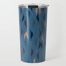 Blue Fall Feather Beads Pattern Travel Mug