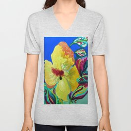 Birthday Acrylic Yellow Orange Hibiscus Flower Painting with Red and Green Leaves Unisex V-Neck