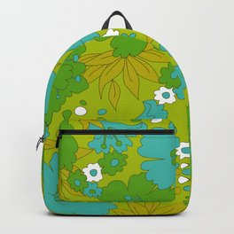 Green, Turquoise, and White Retro Flower Design Pattern Backpack