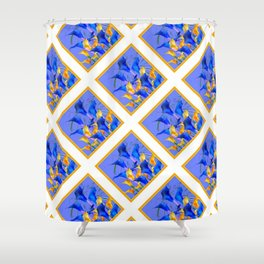 PATTERNED MODERN ABSTRACT BLUE & GOLD CALLA LILIES Shower Curtain