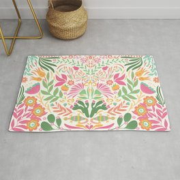 Tropical Pattern in Pink and Green Rug