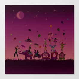 colorful circus carnival traveling in one row at night Canvas Print