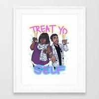 treat yo self Framed Art Prints featuring Treat Yo Self by enerjax