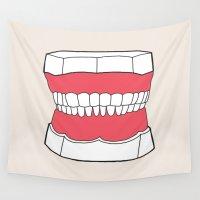 teeth Wall Tapestries featuring Uzual Teeth by uzualsunday