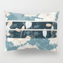 """Blue Peony Floral Print with """"Obi"""" Trim Pillow Sham"""