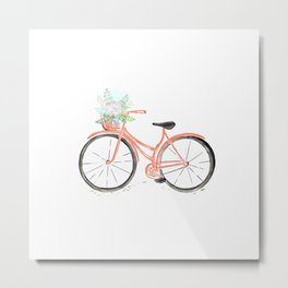 Coral Spring bicycle with flowers Metal Print