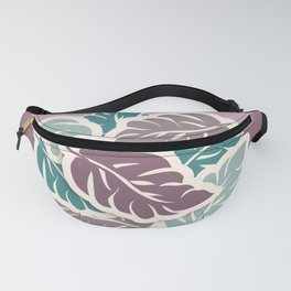 Tropical Breeze Leaves Teal and Mauve Fanny Pack