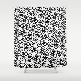 Black Bikes Pattern Shower Curtain