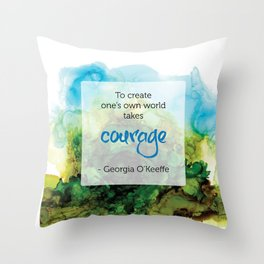 Inspirational Quote - Georgia O'Keeffe - Alcohol Ink Throw Pillow