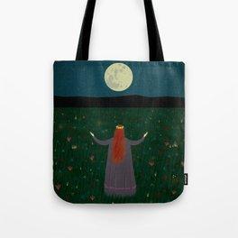 Night Sorceress worshipping the Moon Tote Bag