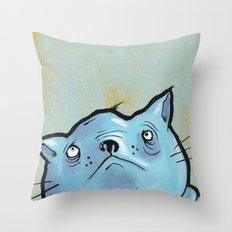 Sad Fat Cat Throw Pillow