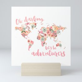 Floral Watercolor World Map - Pink, Coral, Aqua Flowers - Oh Darling Let's Be Adventurers Mini Art Print