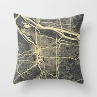 portland Throw Pillows featuring Portland Map by Map Map Maps