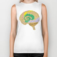 brain Biker Tanks featuring Brain by FACTORIE