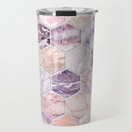 Rose Quartz and Amethyst Stone and Marble Hexagon Tiles Travel Mug