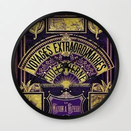 Jules Verne Voyages Extraordinaire Purple Lithographic Print by Jeanpaul Ferro Wall Clock