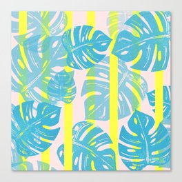 Linocut Monstera Neon Canvas Print