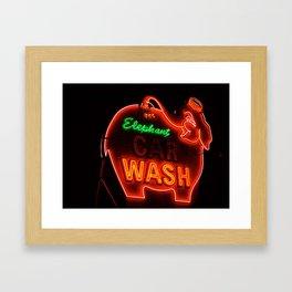 Elephant Car Wash Framed Art Print
