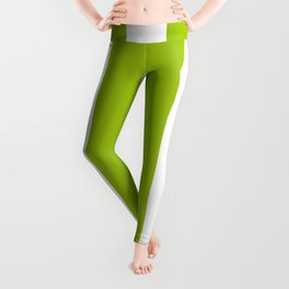 Bright Pistachio Nut Green and White Cabana Stripes Leggings