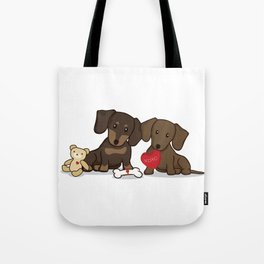Valentine's Day Love Daschund Illustration Tote Bag