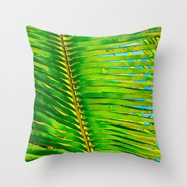 Coconut Frond in Green Aloha Throw Pillow