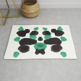 Green & Black Ink Blot Diagram Rug
