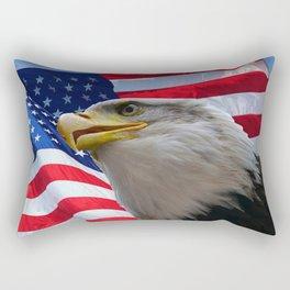 American Flag and Bald Eagle Rectangular Pillow
