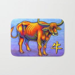 Chinese Zodiac Year of the Ox Colorful Bull Bath Mat