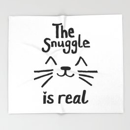 The Snuggle is Real (Black on White) Throw Blanket