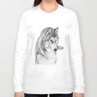 husky Long Sleeve T-shirts featuring Siberian  Husky by stevesart