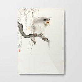 Monkey on tree branch - Vintage Japanese Woodblock Print Art Metal Print