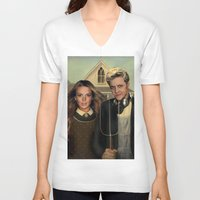 lindsay lohan V-neck T-shirts featuring Lindsay & Sam Tee! by Eric Terino