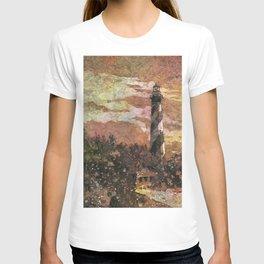 Cape Hatteras lighthouse watercolor batik painting.  Lighthouse art beach artwork painting T-shirt