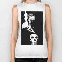 punisher Biker Tanks featuring Inktober Punisher by MeatyElbow
