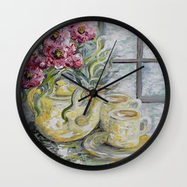 Morning Tea for Two Wall Clock